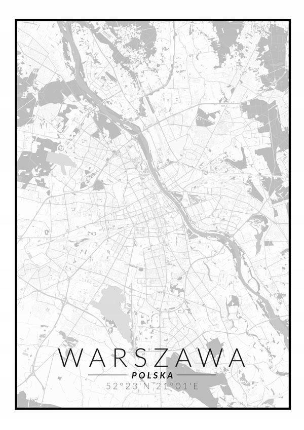 Warszawa Mapa Czarno Biała Plakat 7693372197 Oficjalne