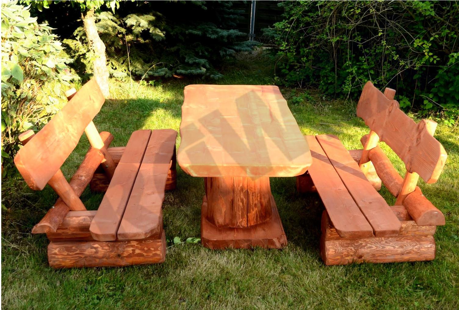 Meble Ogrodowe Drewniane Z Bali Komplet Piwny 6885145509