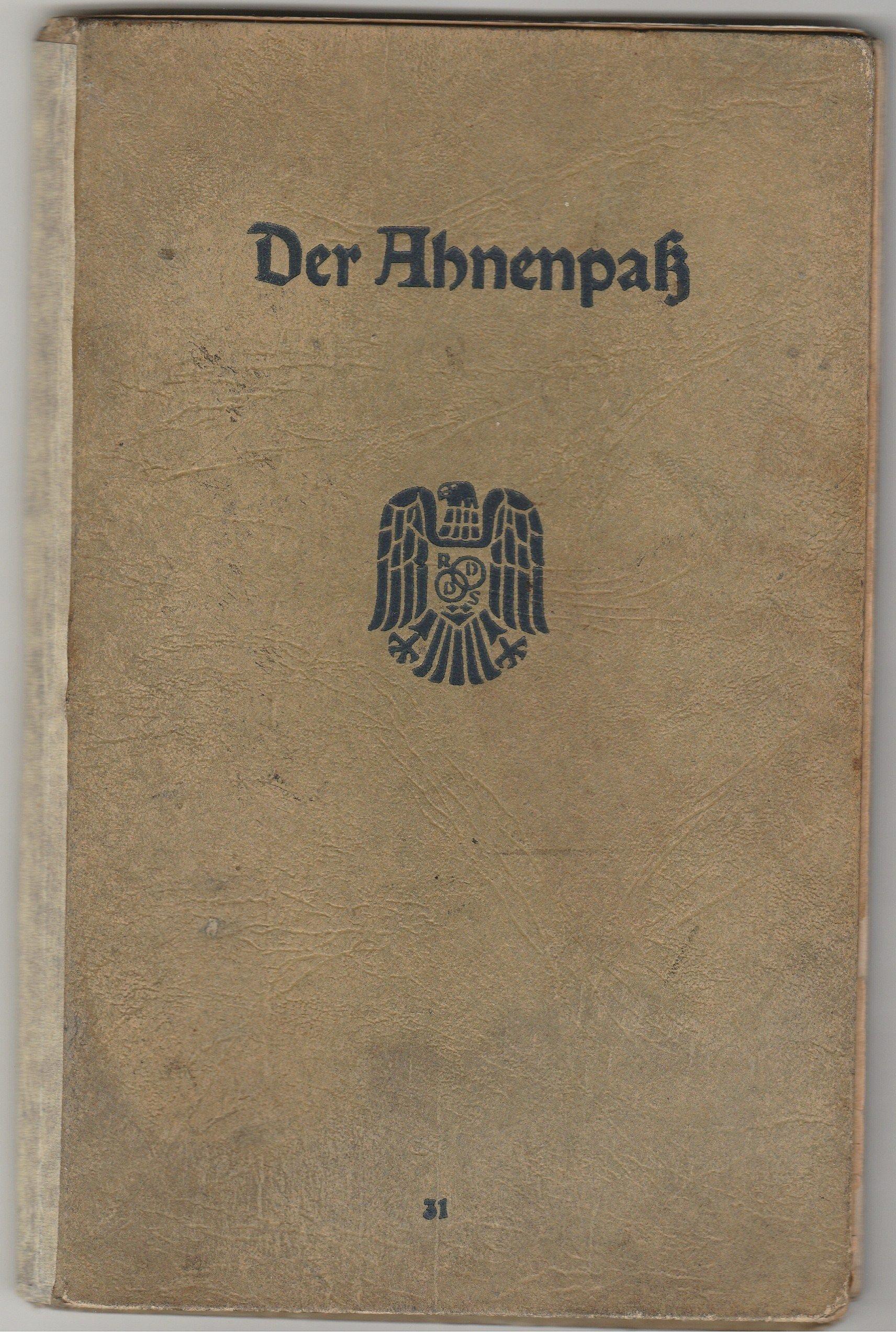 ABNENPASS Hindenburg Oryginalny Dokument z 1943 r
