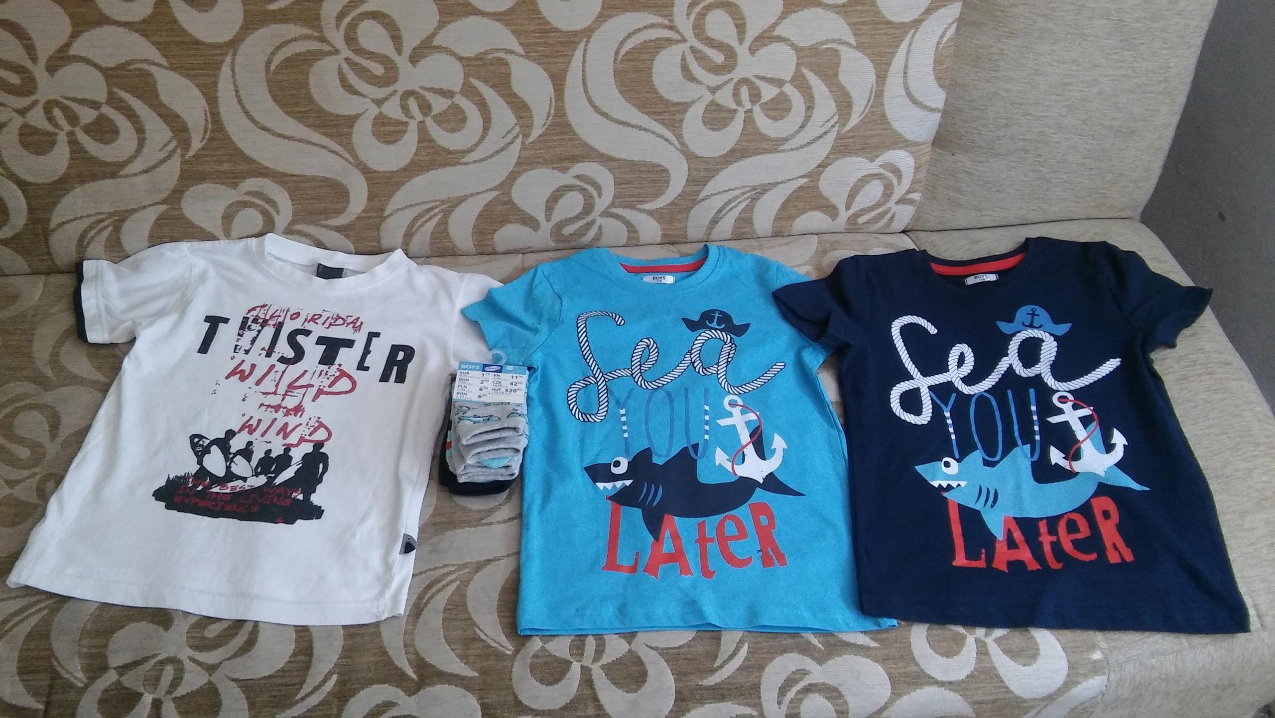 NOWY Zestaw chłopięcy koszulki skarpetki REKIN 116