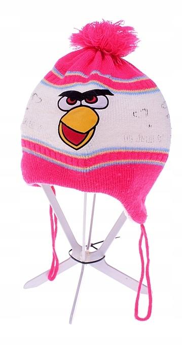 6095-3 ....ANGRY BIRDS... CZAPKA Z POMPONEM PINK