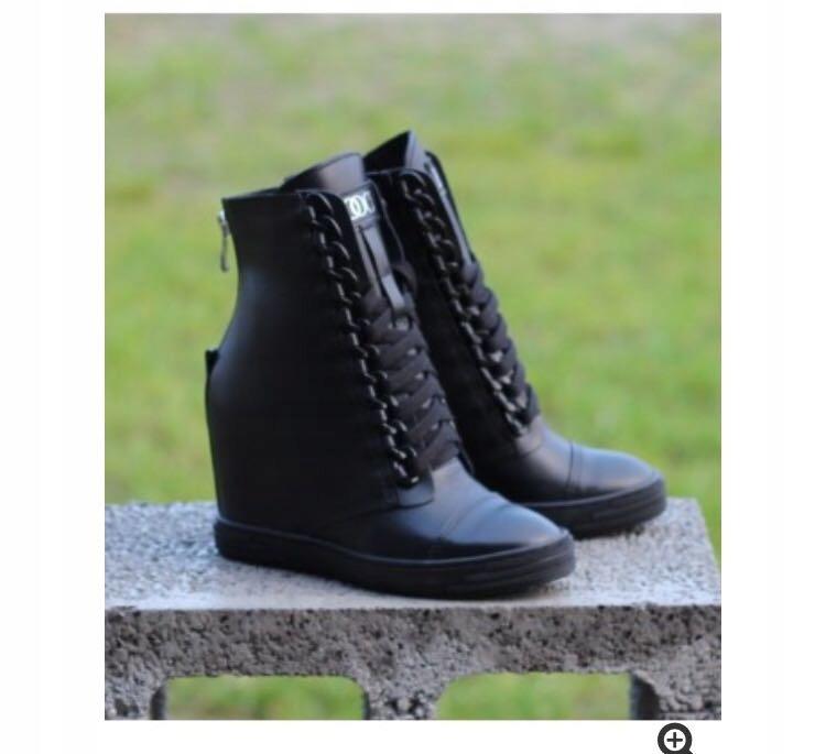 Trampki BOCCI skórzane sneakersy łańcuch CZARNE 37