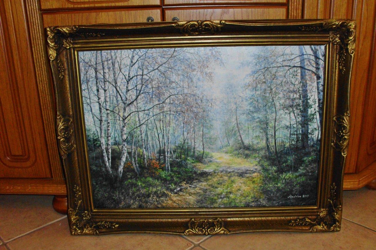 Małgorzata Rawicka Jesienne mgły Olej 83x63 cm