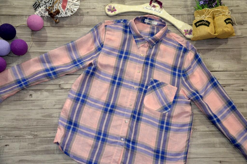 MANGO koszula KRATA szafirowa RÓŻOWA print L