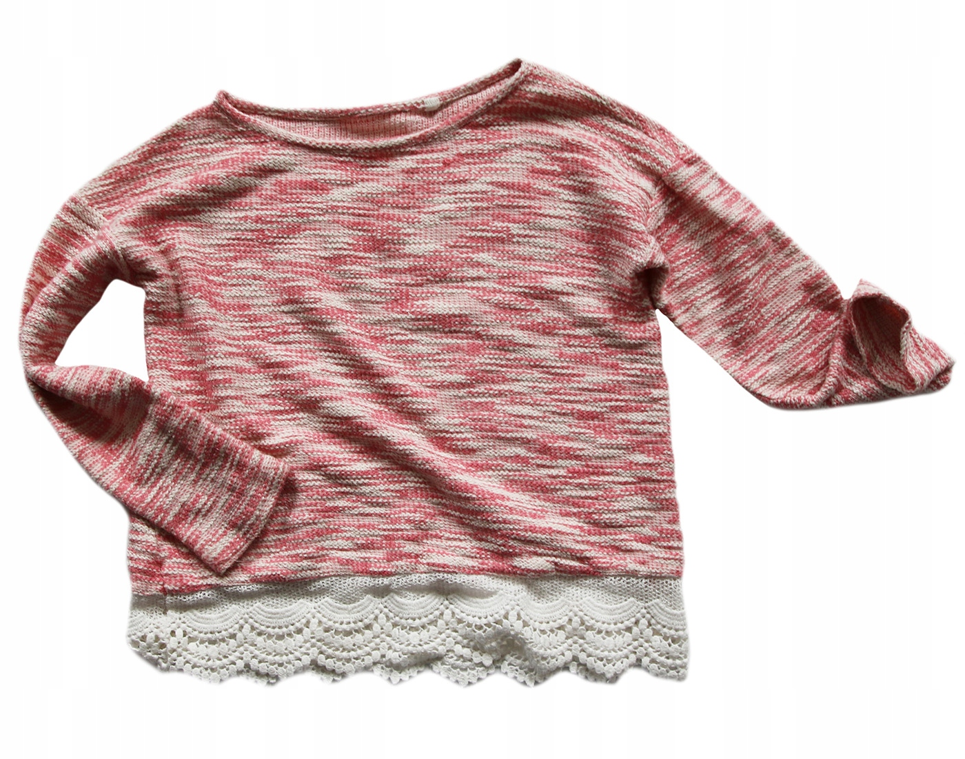 Next - różowa bluza z koronką 9 lat 134 cm
