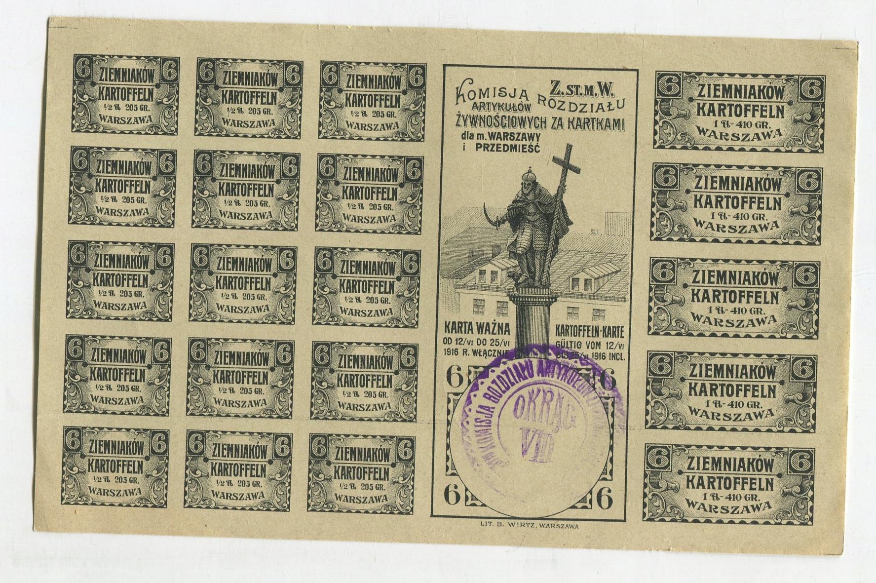KARTKI NA ZIEMNIAKI 1916 Warszawa Kolumna Zygmunta