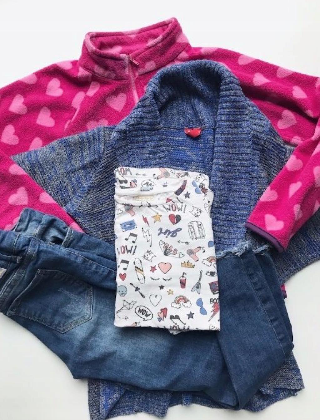 Zestaw 7-8 lat, Zara, kardigan, jeansy z dziurami