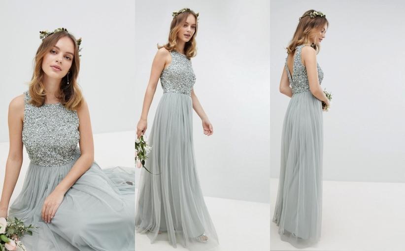 Asos MAYA maxi sukienka tiul cekiny wesele 42 XL