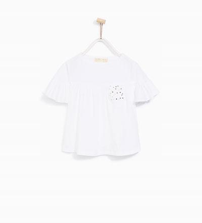 Zara koszulka falbanki kieszonka z gwiazdkami 152