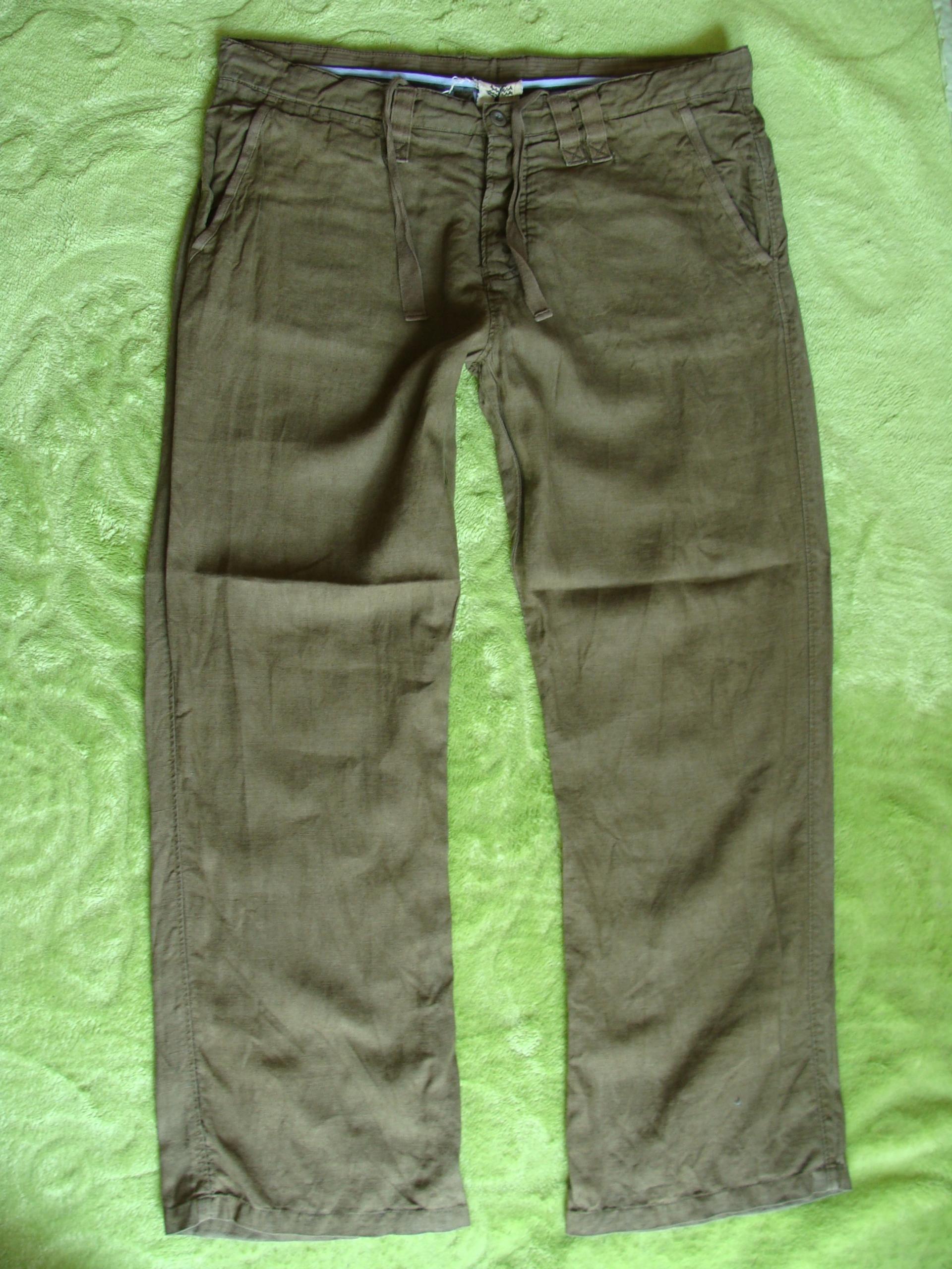 NEXT spodnie 100% ORGANIC LEN zieleń PAS 102 bdb