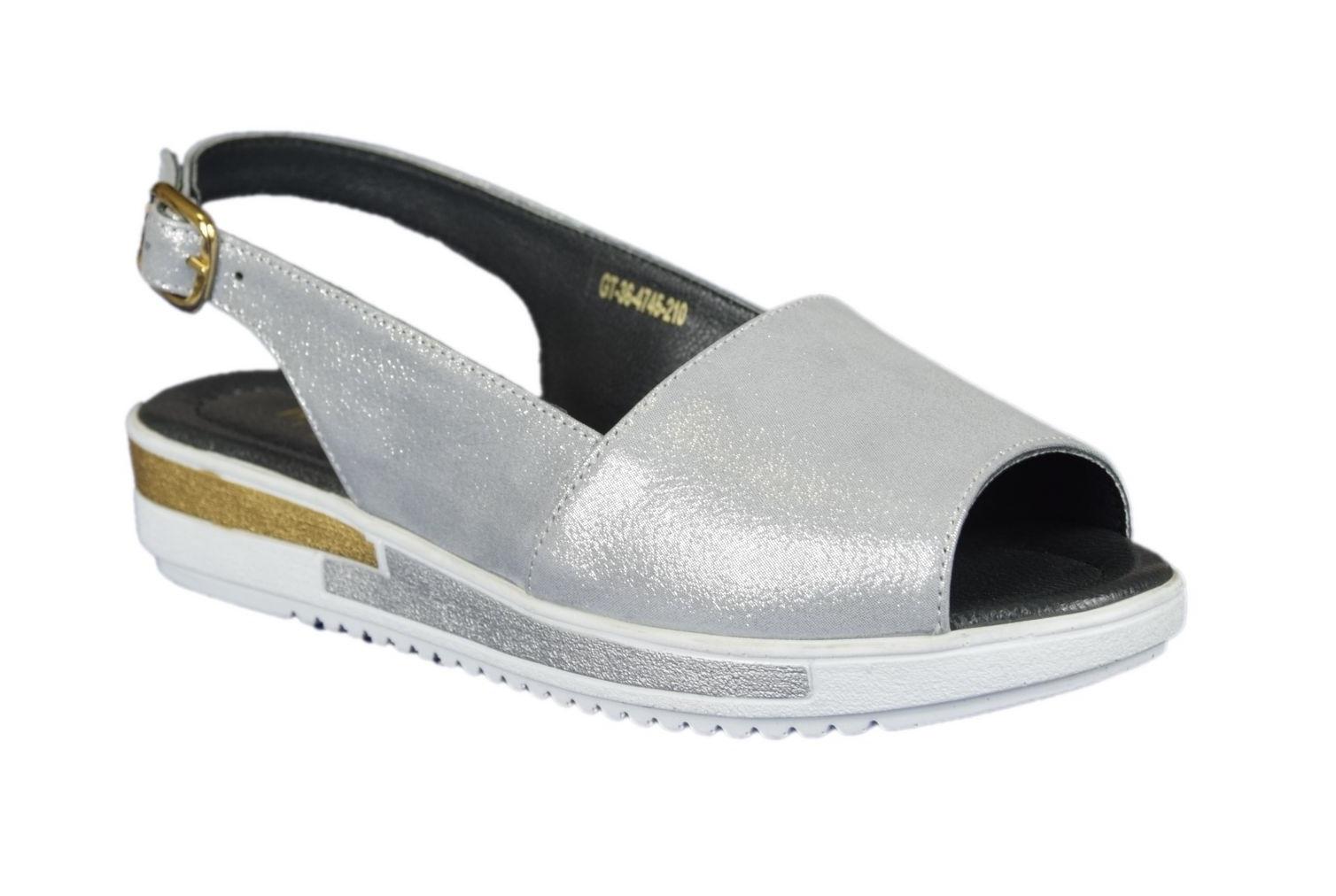 Sandały damskie Badura 4745-69 srebrne skóra R.40