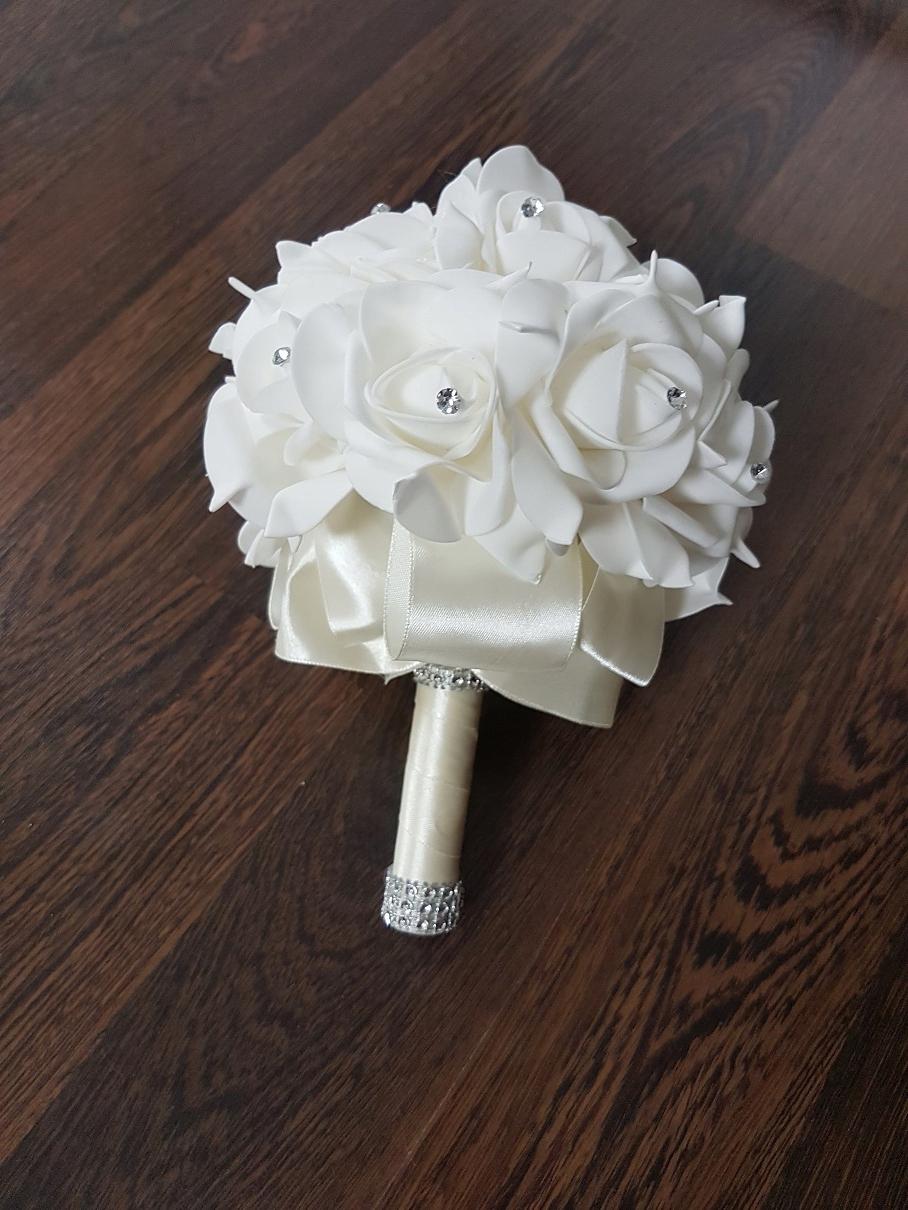 Bukiet Ślubny Podwiązka Butonierka Róże Cyrkonie