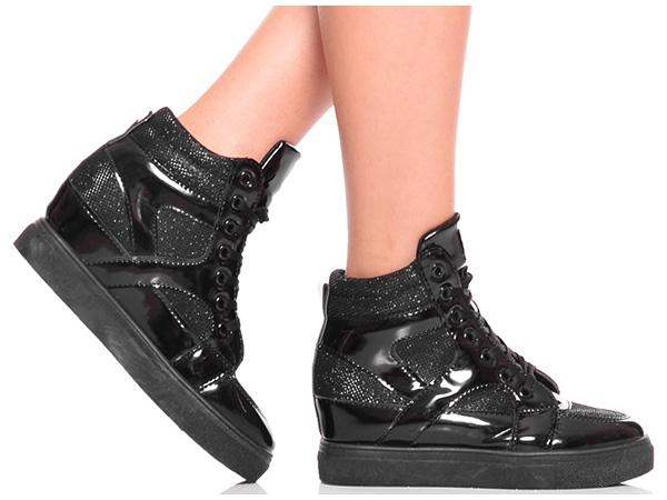 Modne Czarne Sneakersy Trampki na Koturnie 38 7404559857
