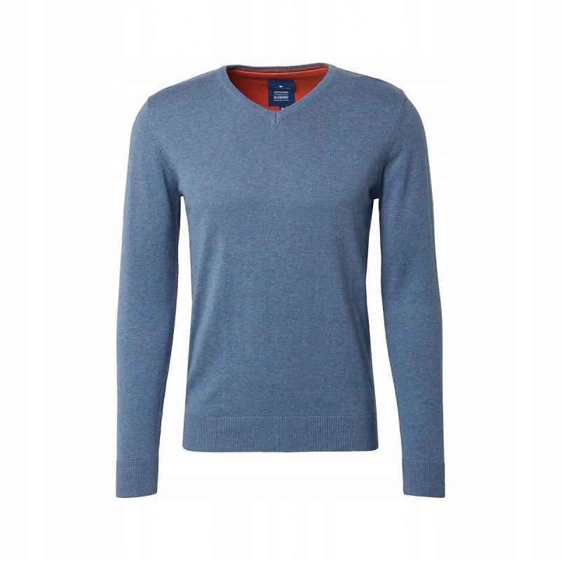 Tom Tailor Sweter Męski Bawełna V-Neck Niebieski L