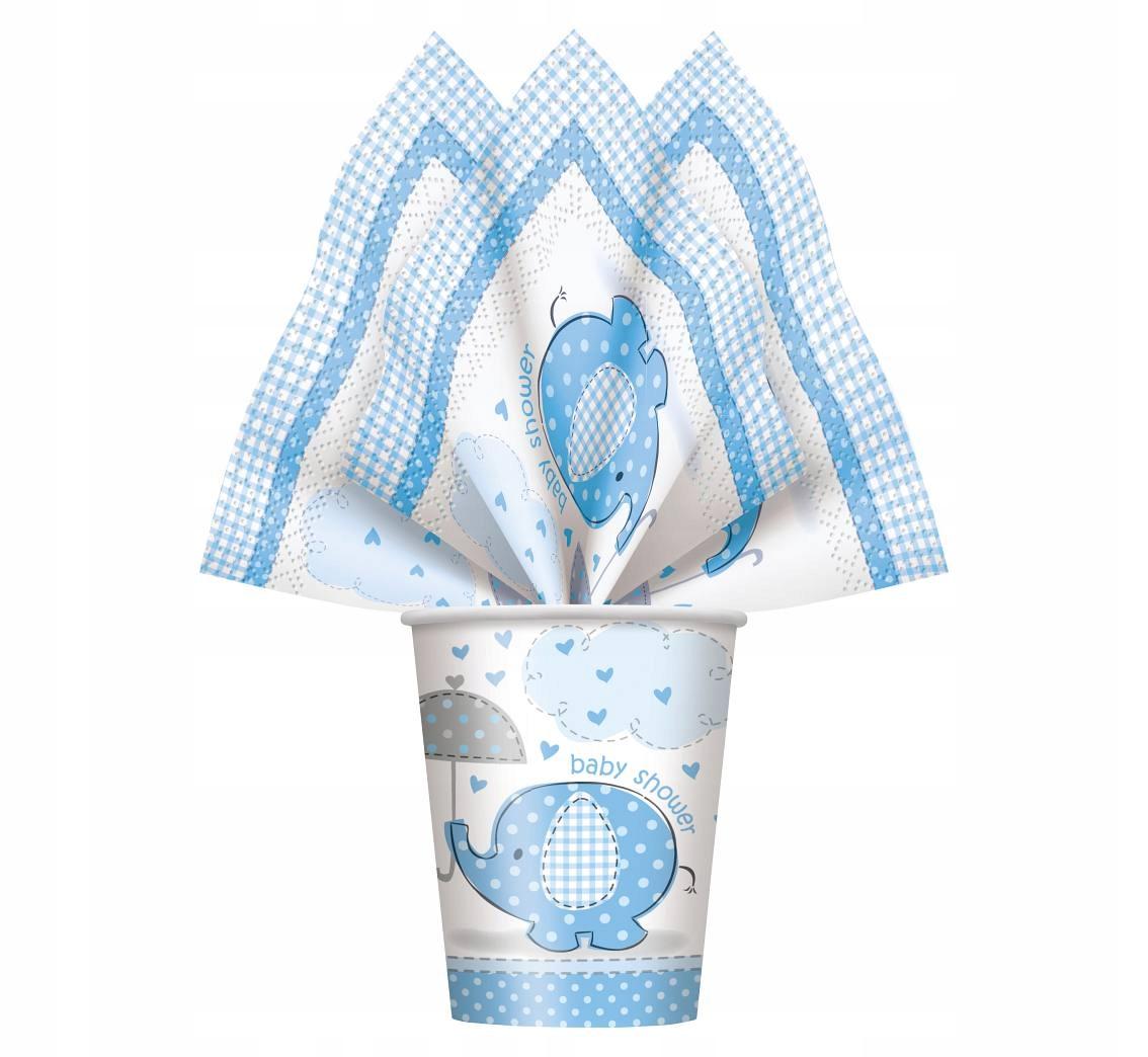 kUBECZKI papierowe Baby Shower Słonik BOY 8 szt