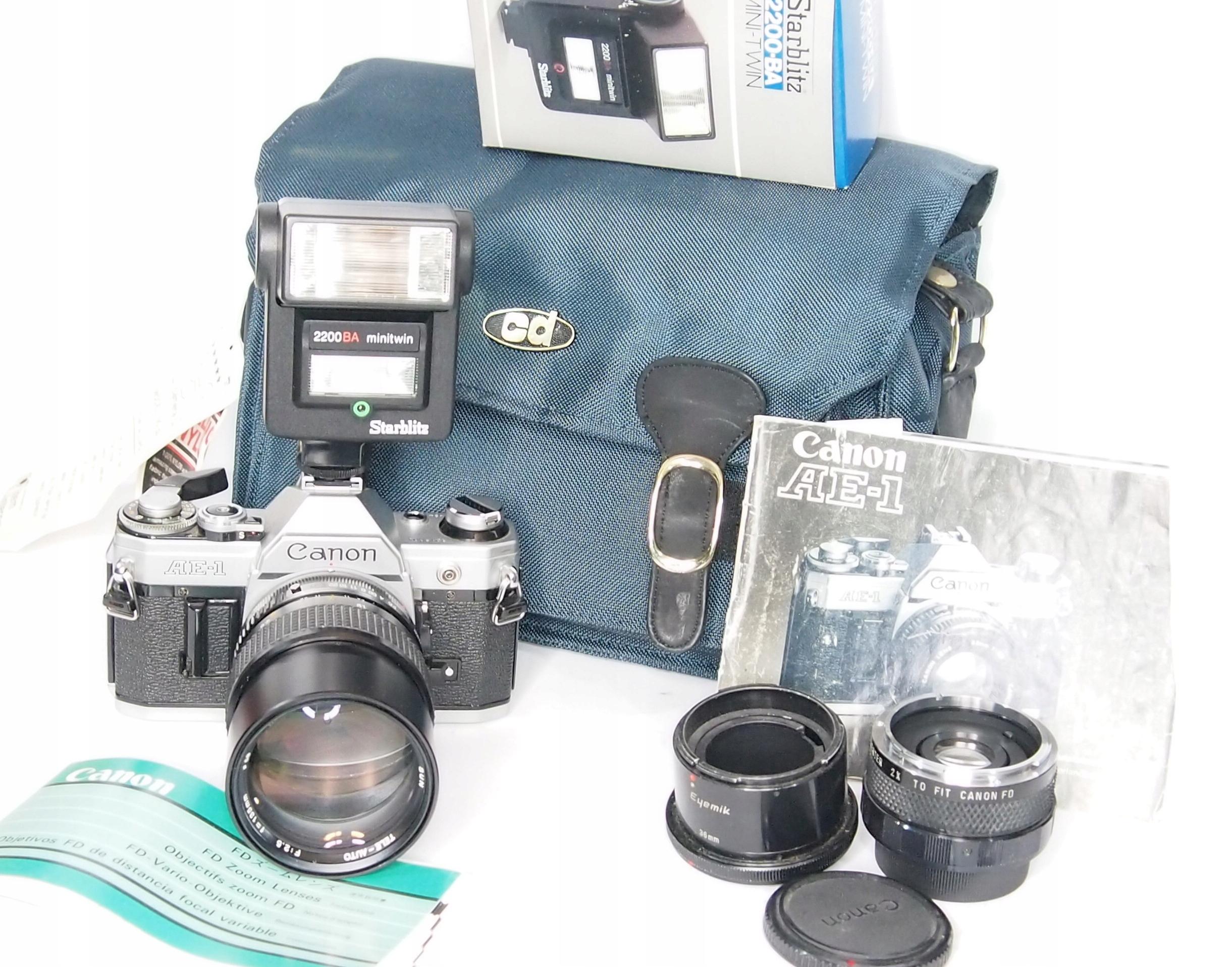 Aparat kolekcjonerski AE-1 Canon zestaw 2.5 135mm