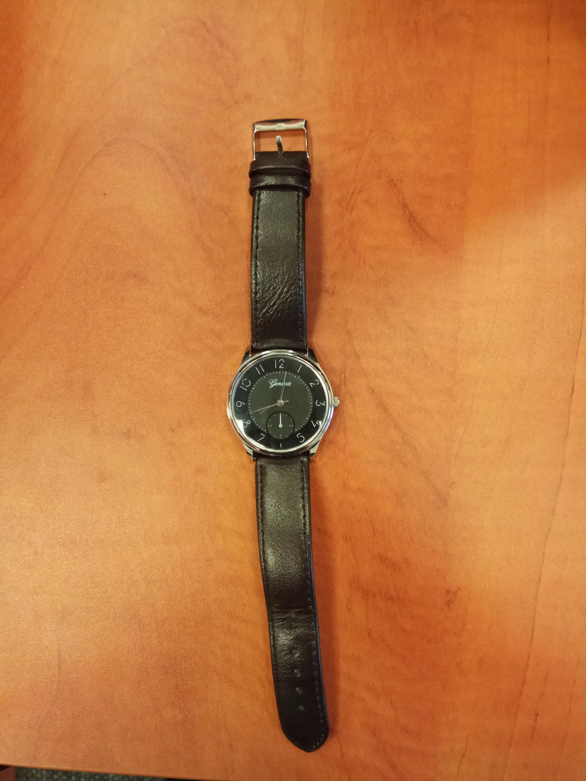 Czarny zegarek Geneva pasek skóra brązowy