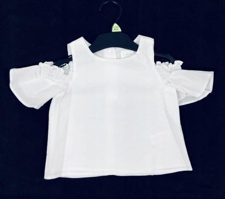 Bluzka F&F biała t-shirt 92-98 cm falbanka