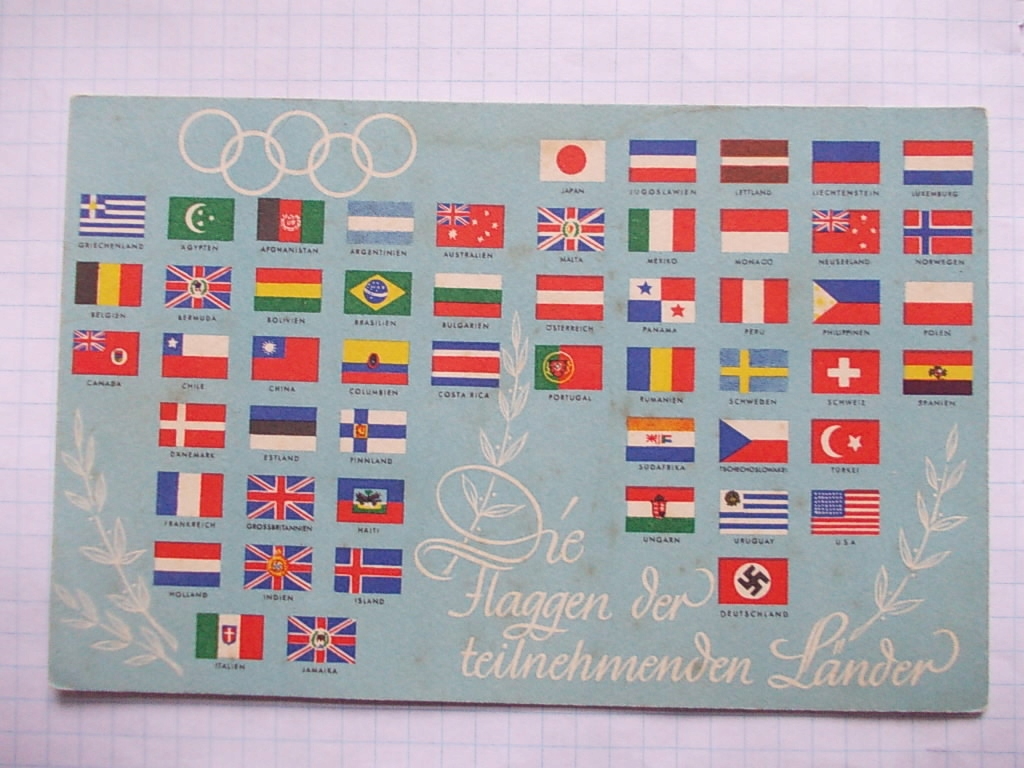 AN3 BERLIN OLIMPIADA 1936 FLAGI UCZESTNIKÓW B504