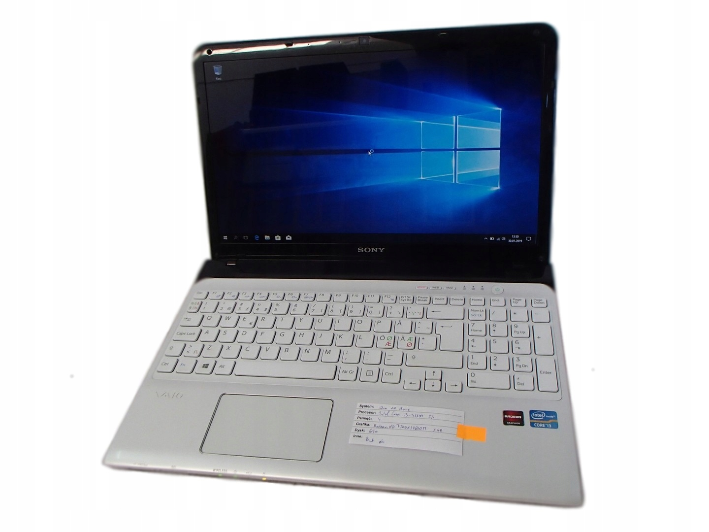 SONY Vaio SVE151G13M i3-3110M 4GB/650GB/Windows 10