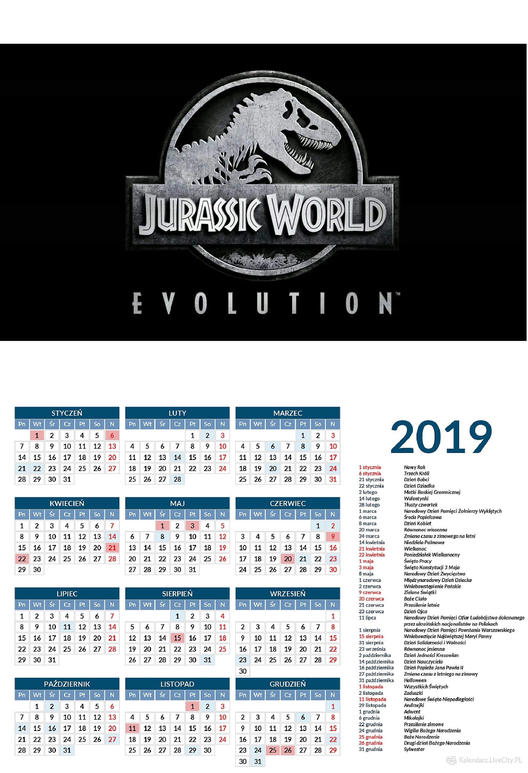 Kalendarz 2019 GRA JURASSIK PARK