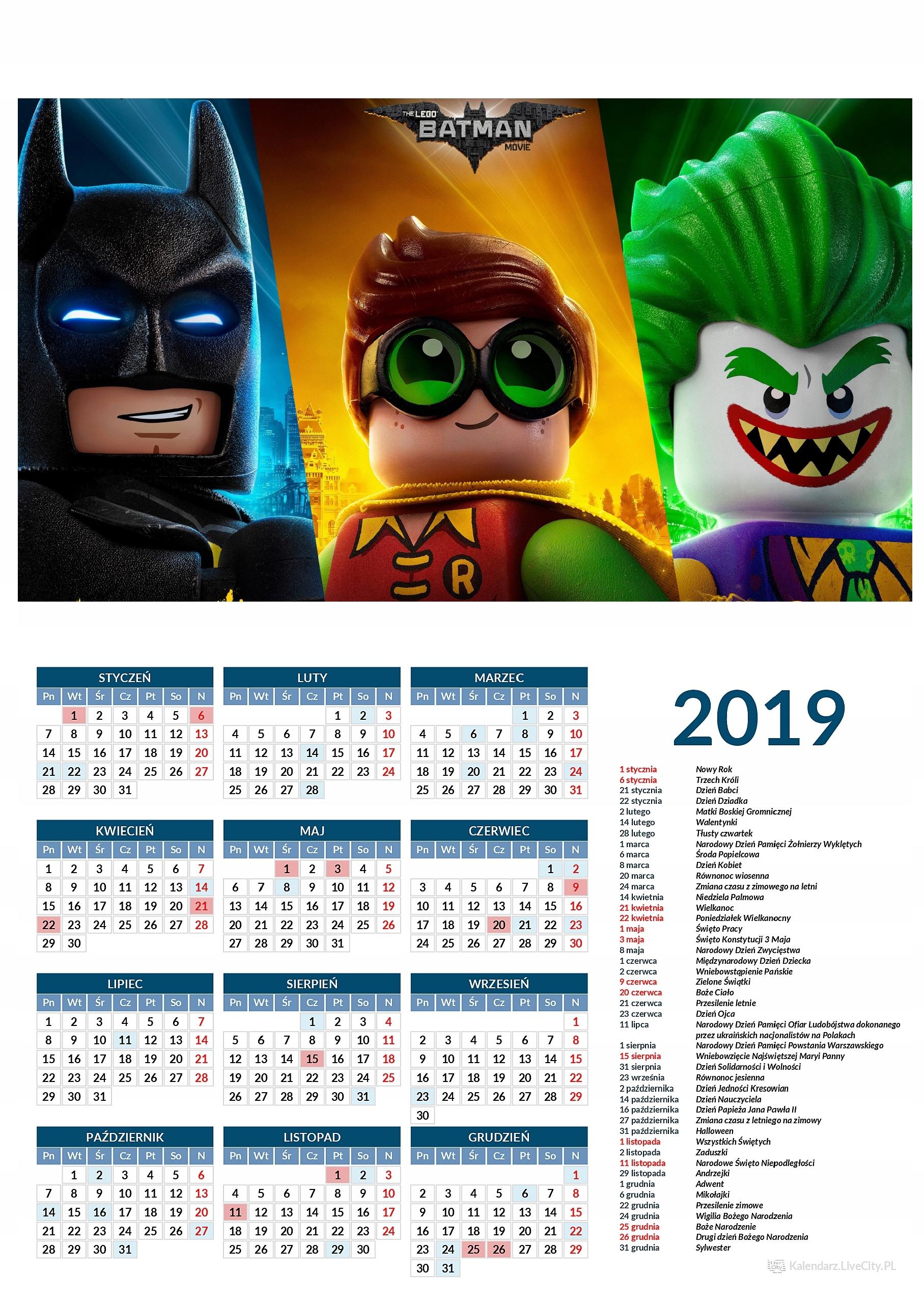 Kalendarz 2019 film lego batman