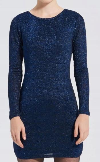 Sukienka niebieski czarny brokat s/m H&M
