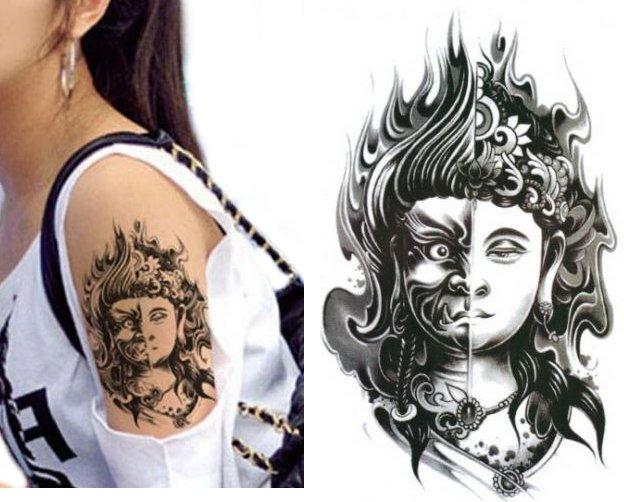 Budda Kalkomania Tatuaż Naklejka Demon Tattoo Tm9