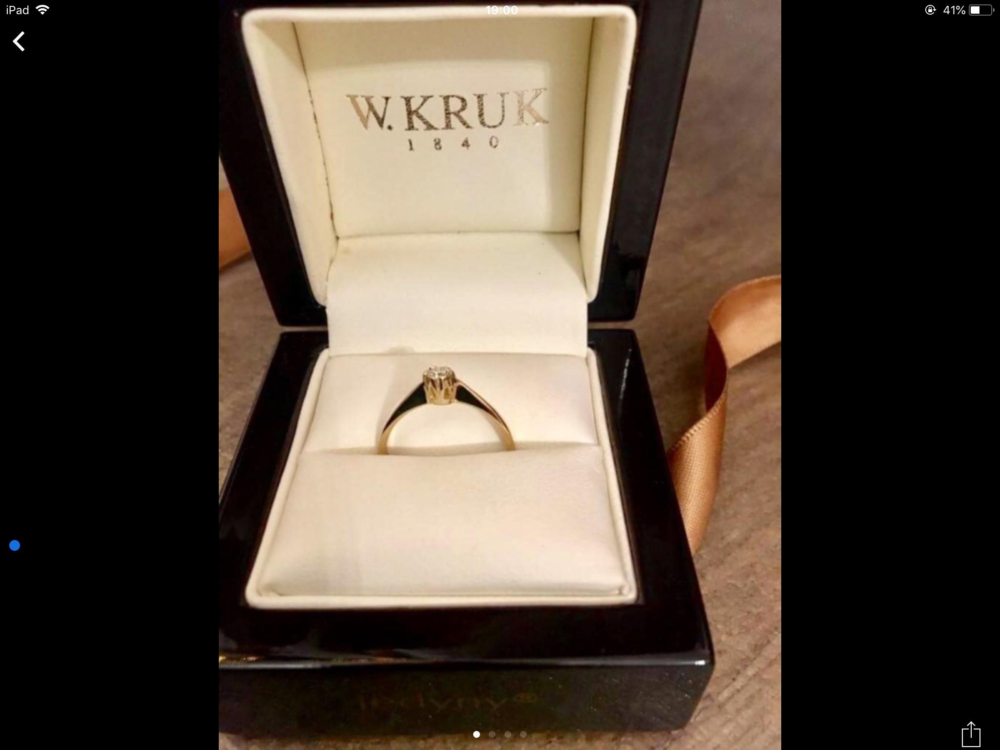 Pierścionek Zaręczynowy Złoty Z Brylantem Kruk 12 7471508385