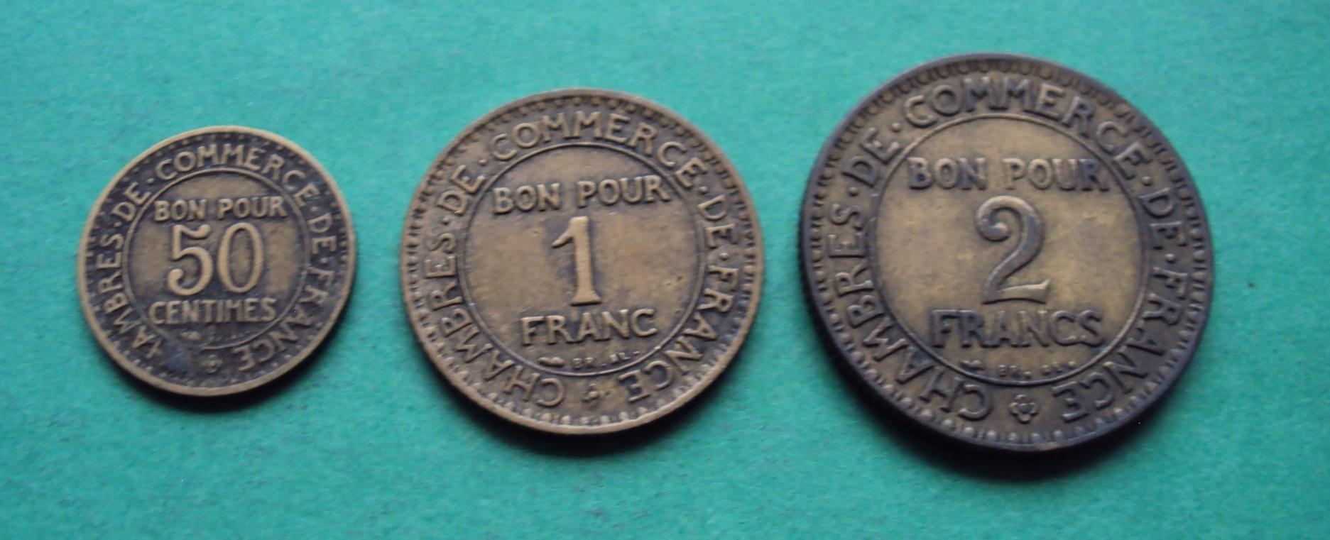 FRANCJA STARA zestaw 50 c 1 2 Francs Bon Pour 1922