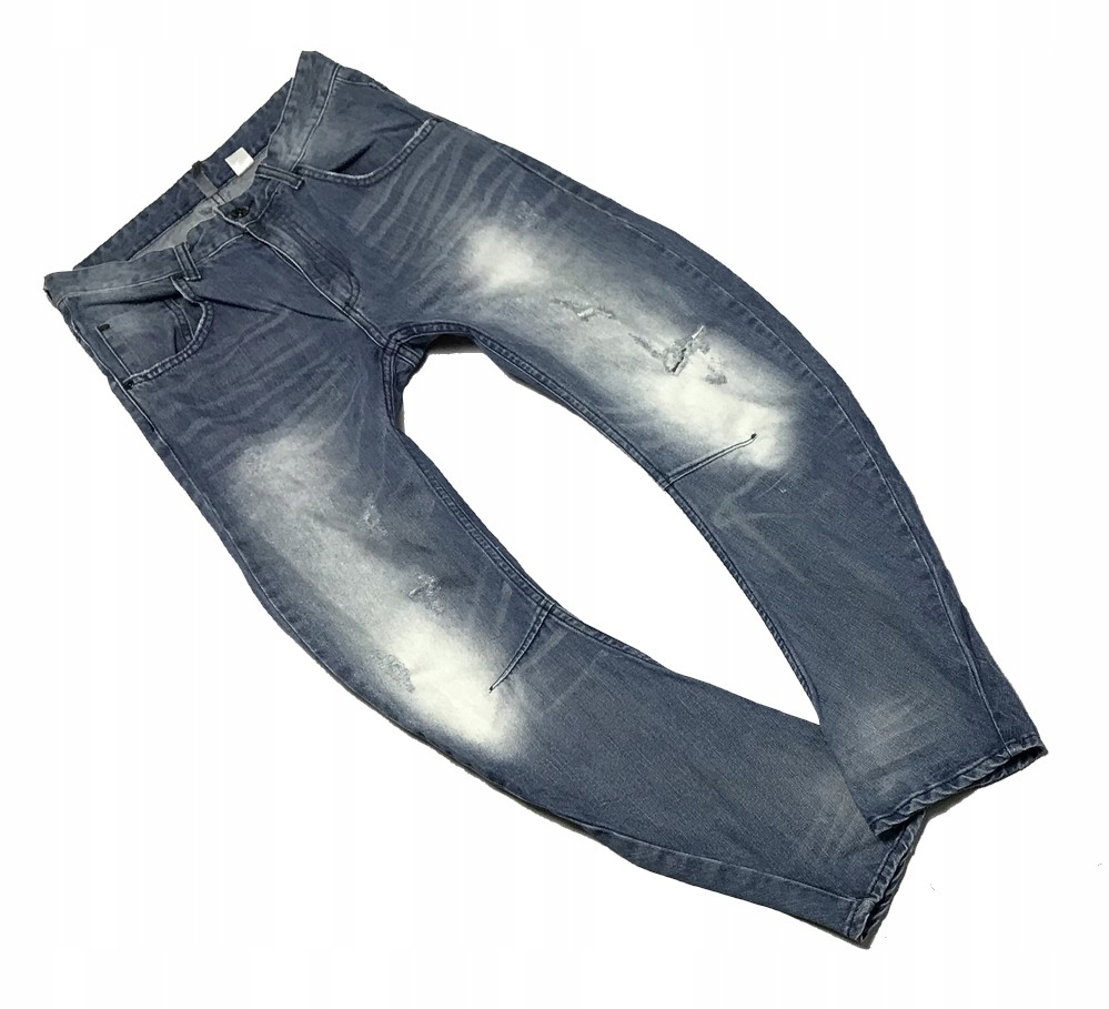 19K403 H&M JEANSY DZIURY PAS 76-78 CM