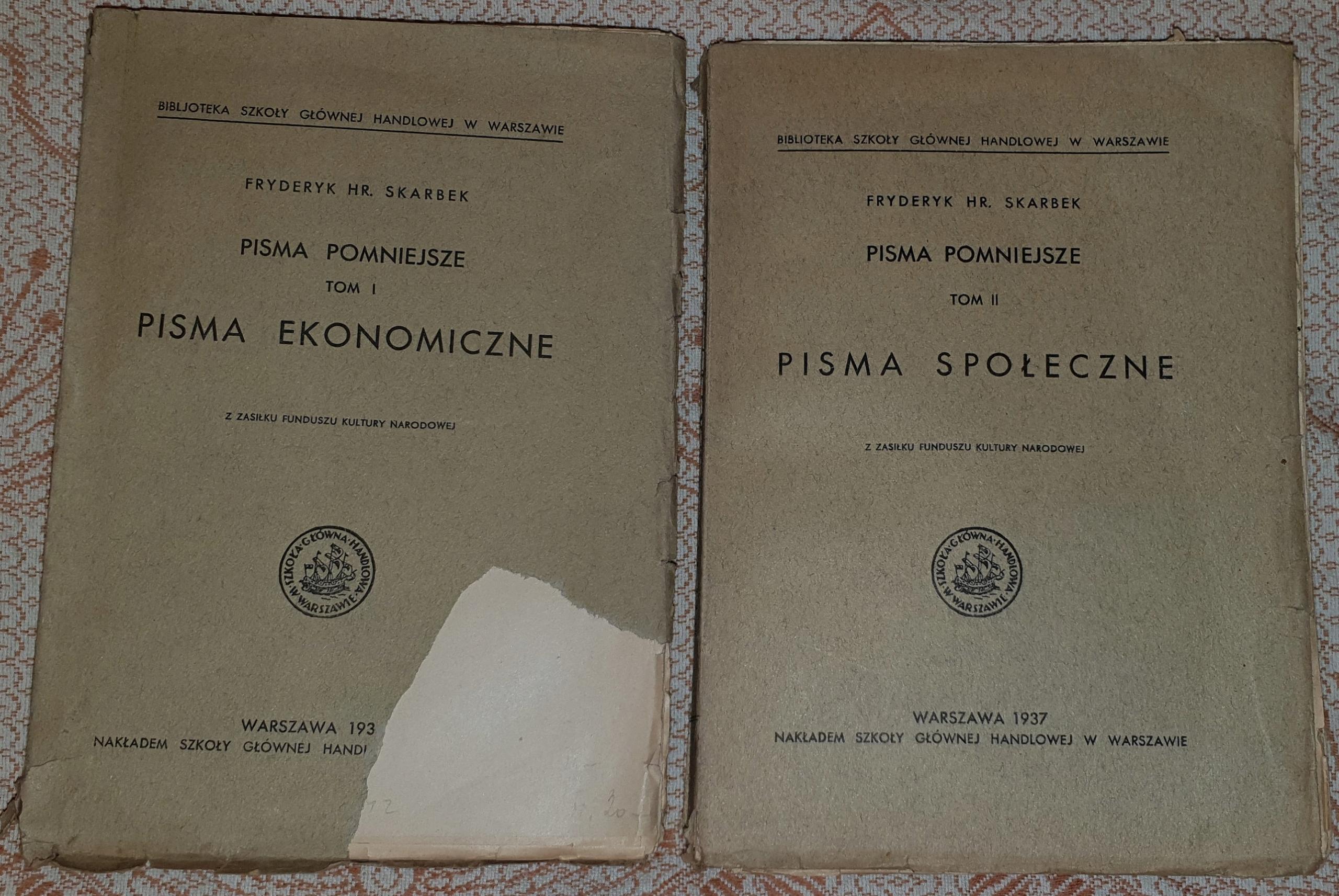 PISMA POMNIEJSZE-SKARBEK,1937