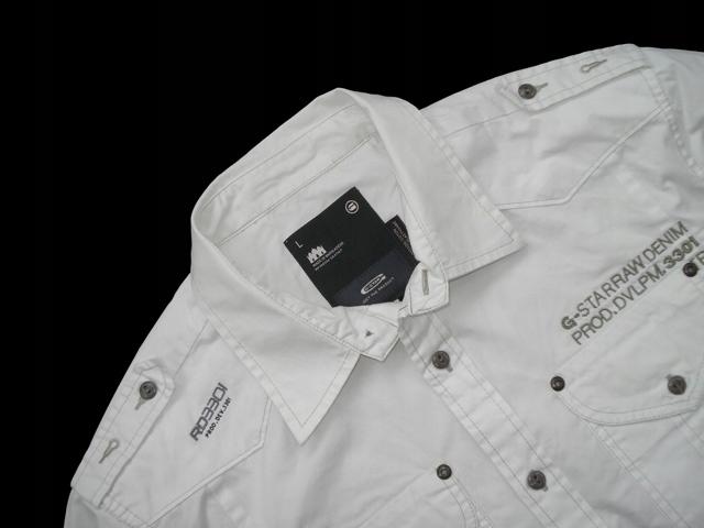 G-STAR ___ NEW PORT SHIRT Biała Koszula PAGONY r L