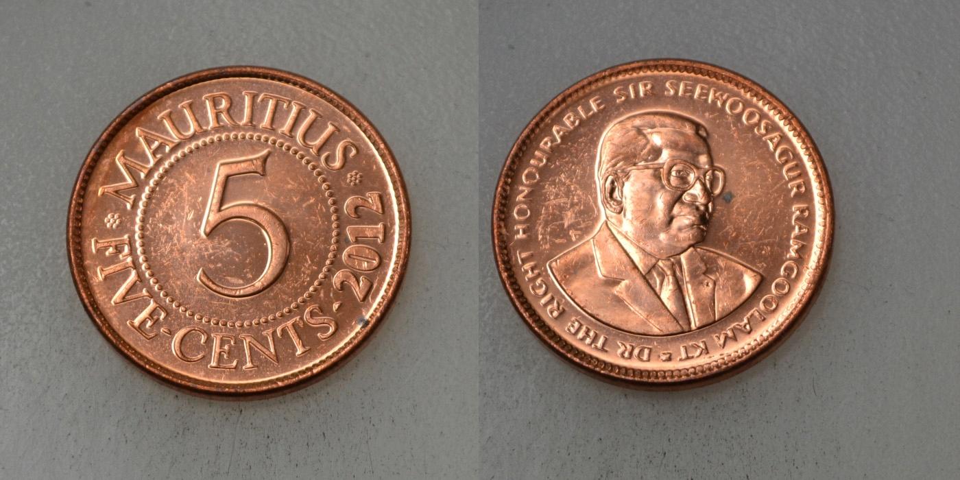 Mauritius 5 Cents 2012 rok BCM