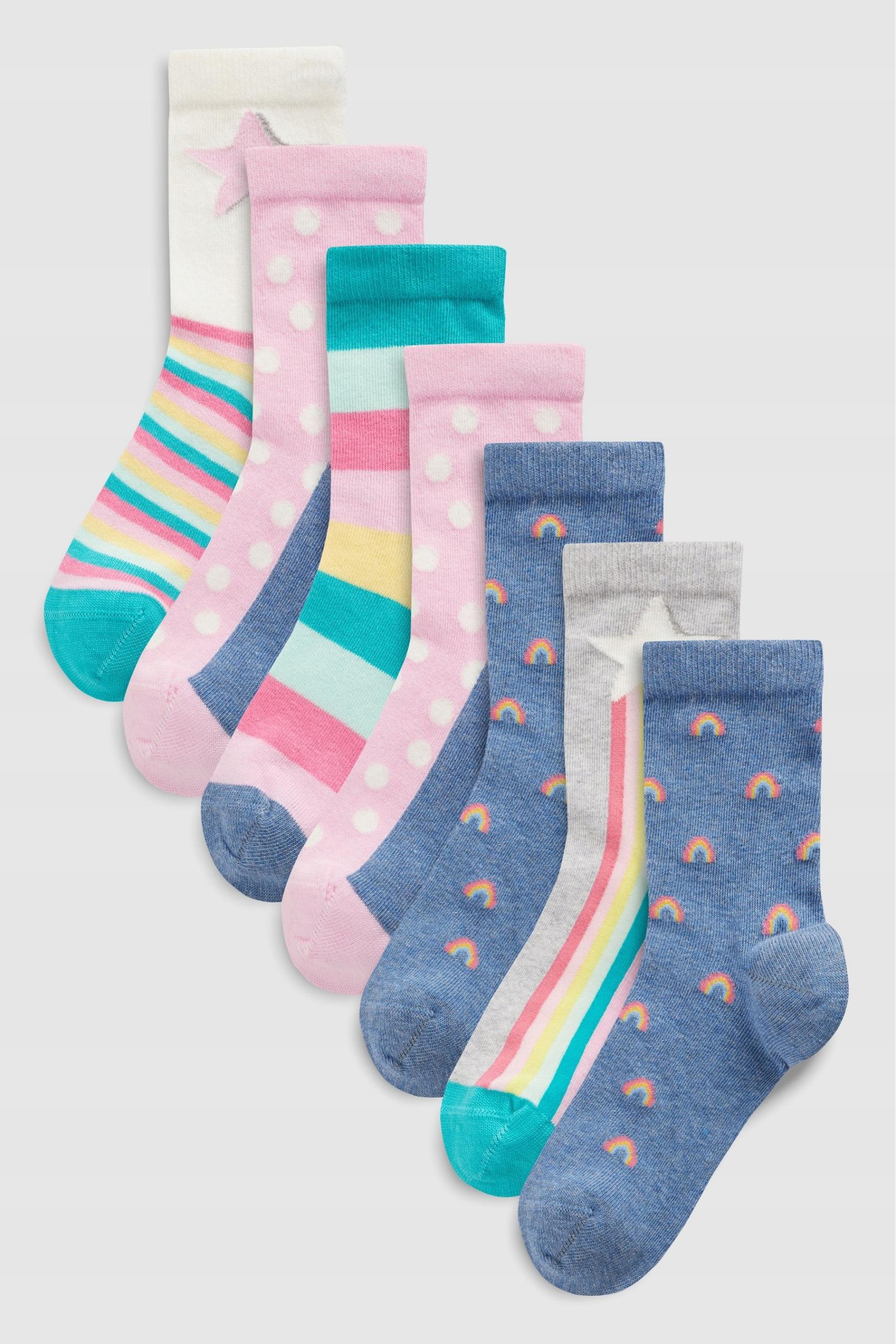 NEXT SKARPETY x7 Pastel Rainbow 3-5L/6-8.5 2019