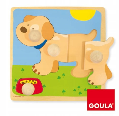 Goula Wooden Dog Lift-Out Puzzle (4 Pieces)