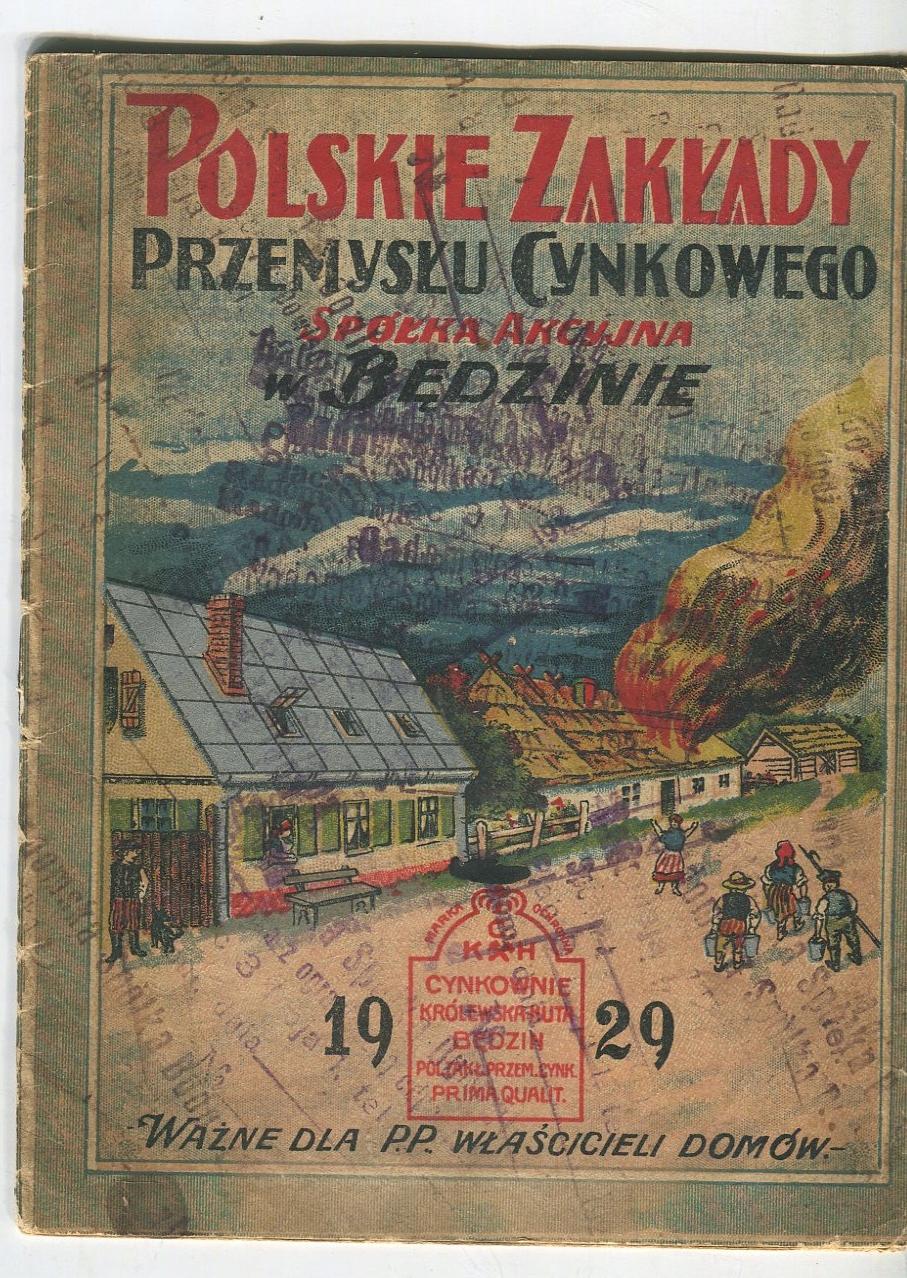 POLSKIE ZAKŁADY PRZEMYSŁU CYNKOWEGO Będzin 1929