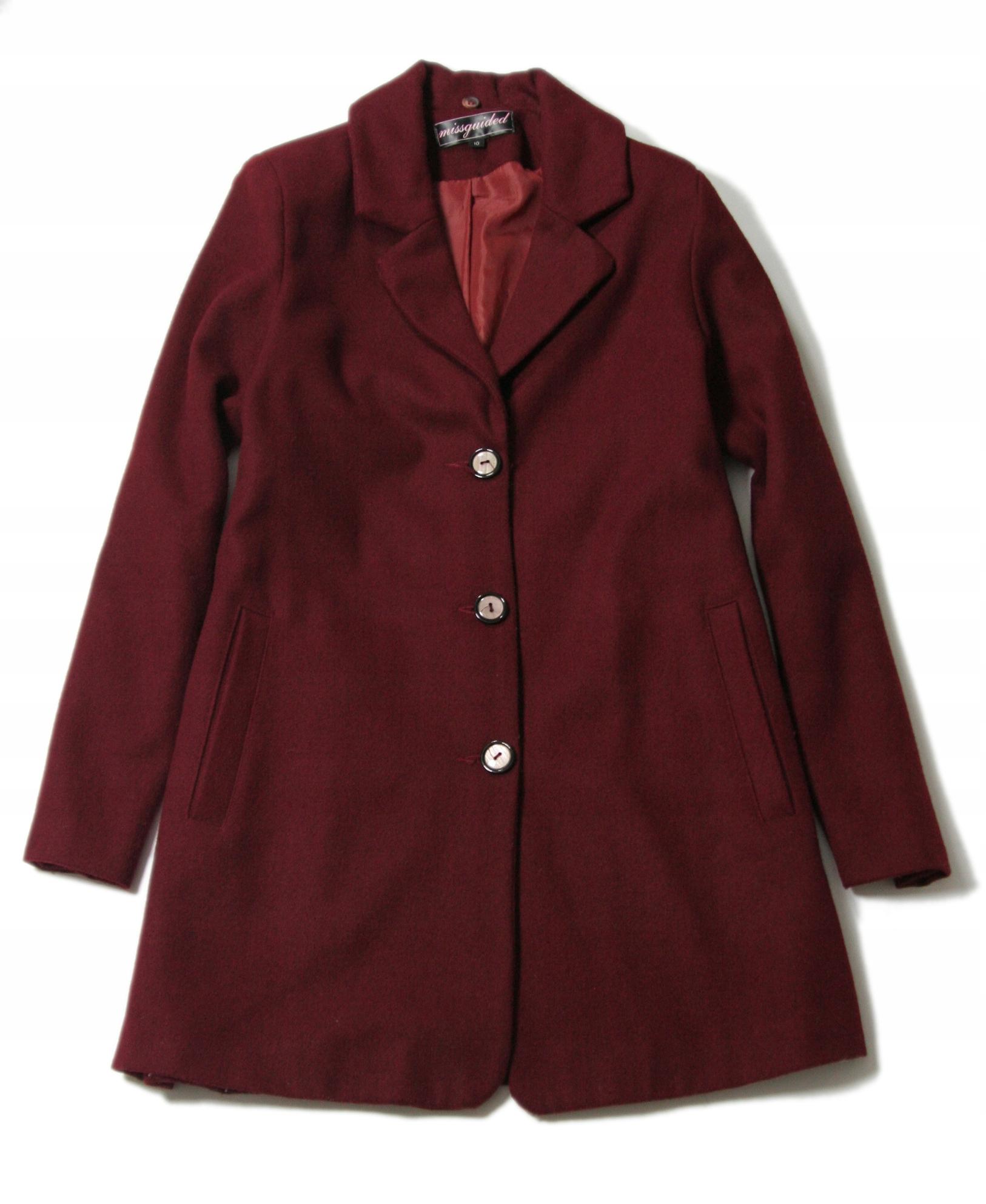MISSGUIDED jesien przejściowy płaszcz BORDO 38