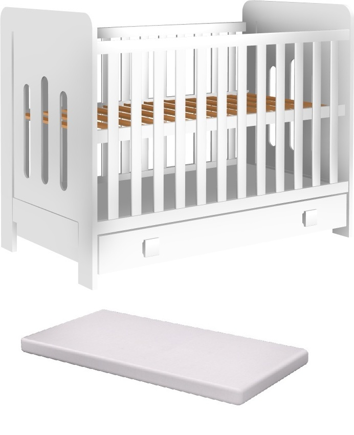 Łóżeczko ZUZA szuflada 120x60cm +materac pianka