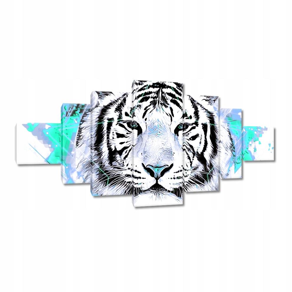 Obrazy na płótnie 200x100 Tygrys gwiazdki turkus