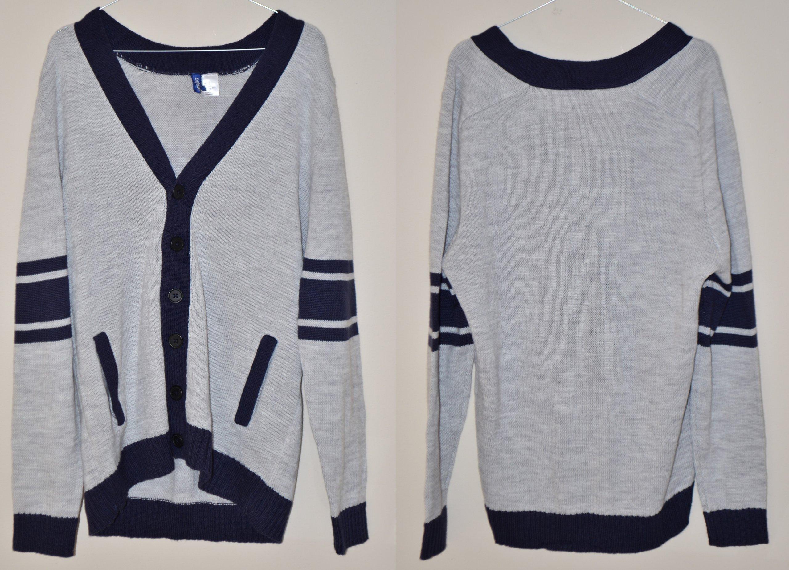 474 H&M SWETER SEREK MĘSKI GUZIKI SZARY XL