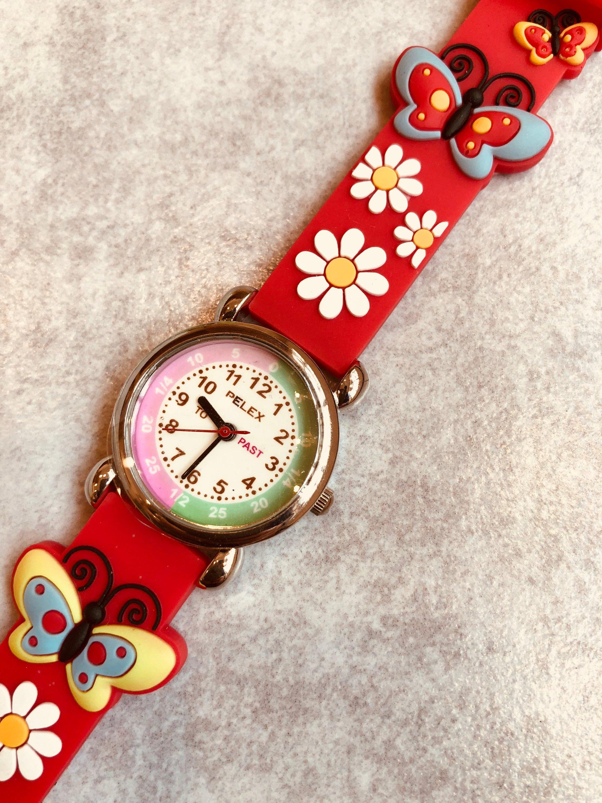 Zegarek Dzieciecy Pelex Motylek Stokrotki Czerwony