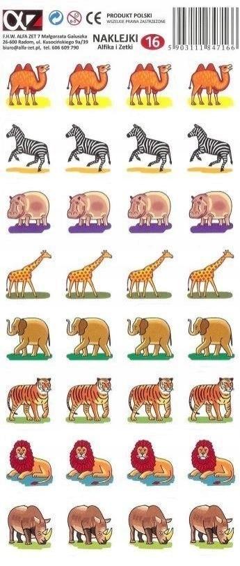 Naklejki Alfika i Zetki 16 Zwierzęta