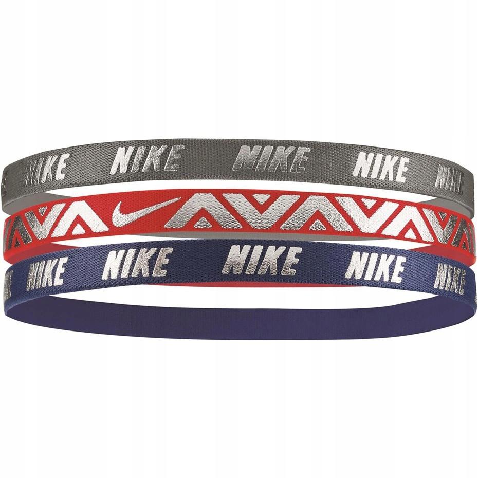 Opaska na głowę Nike Hairbands 3 szt. gra cze szar