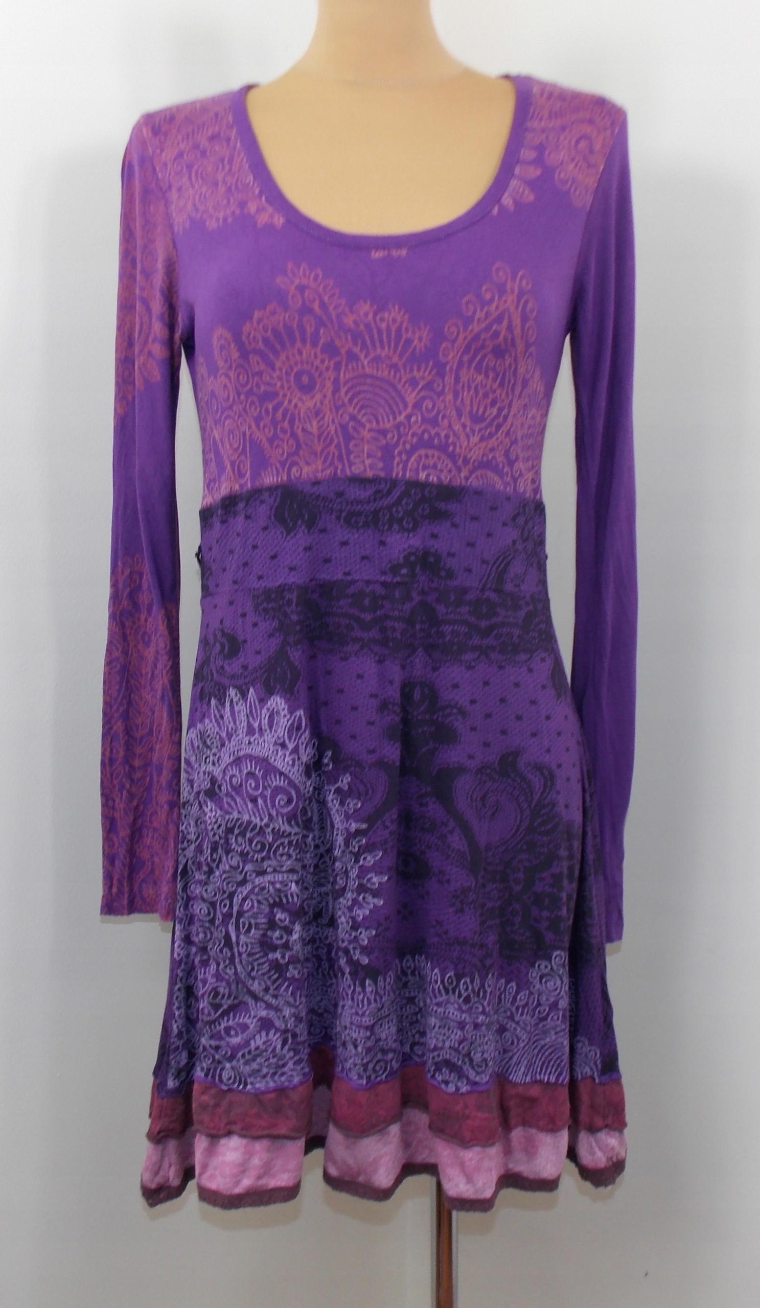 sukienka DESIGUAL klasyczna fioletowa wzory 38