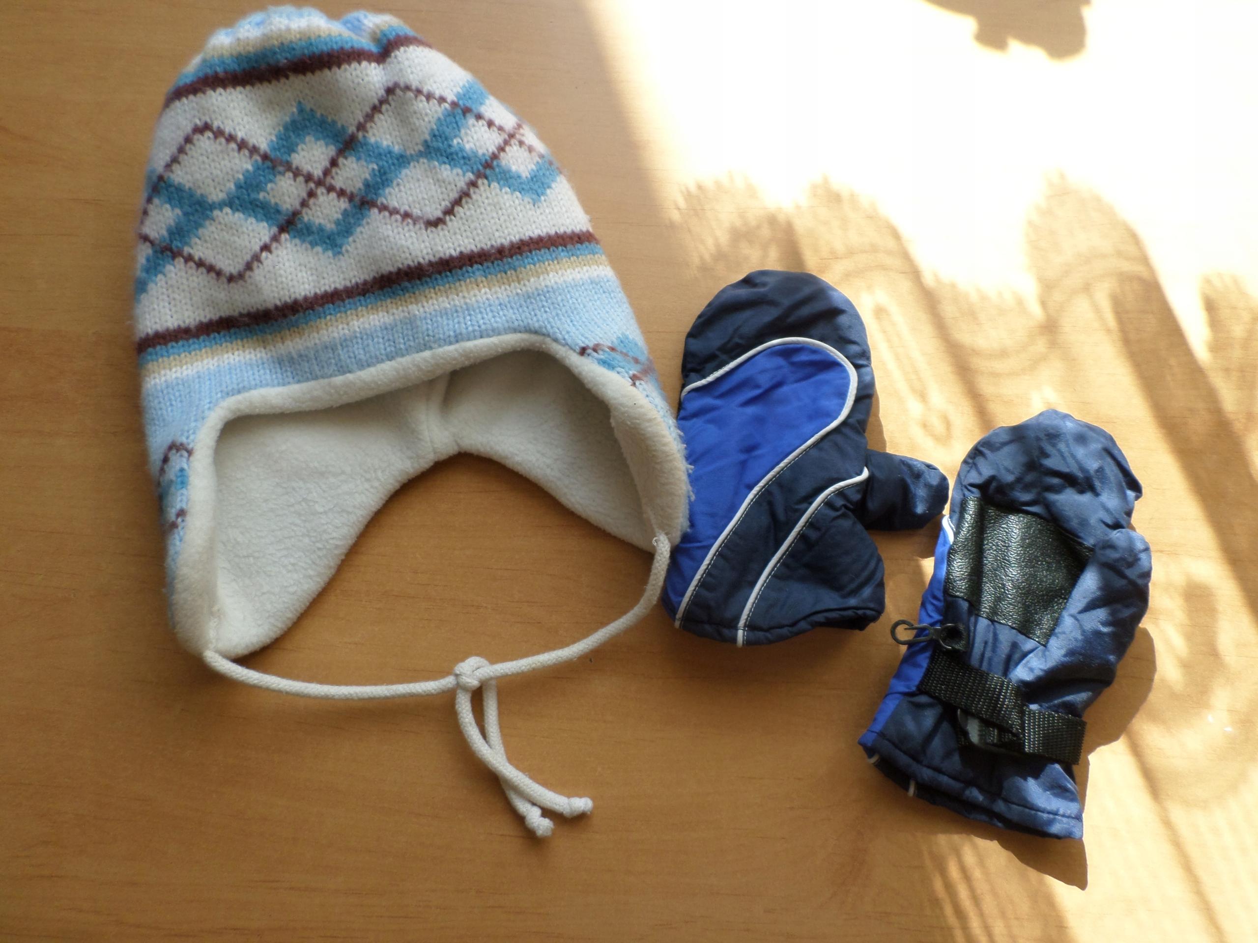 gruba zimowa czapka rękawiczki narciarskie 122 6-7