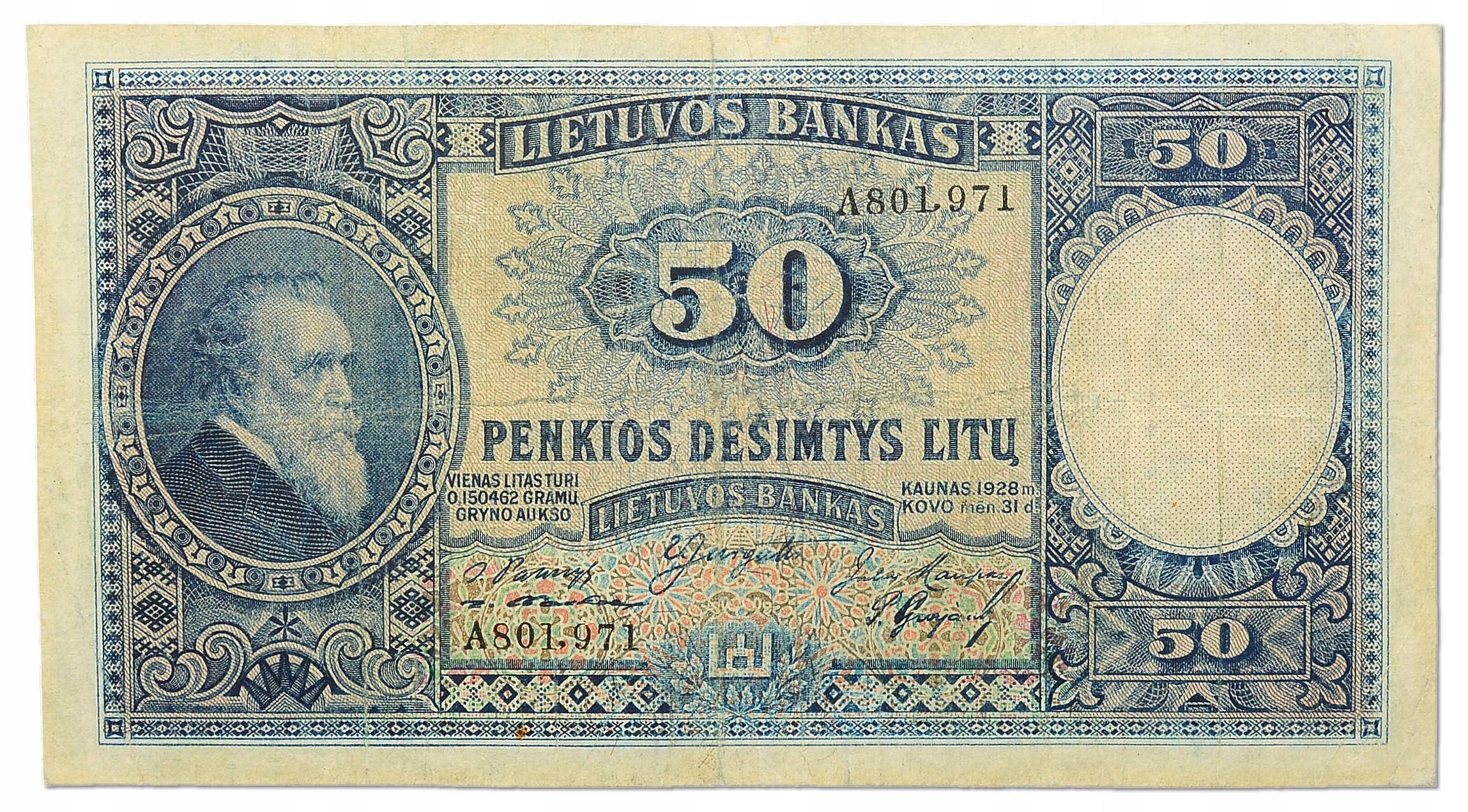17.Litwa, 50 Litów 1928 rzadki, P.24.a, St.3+