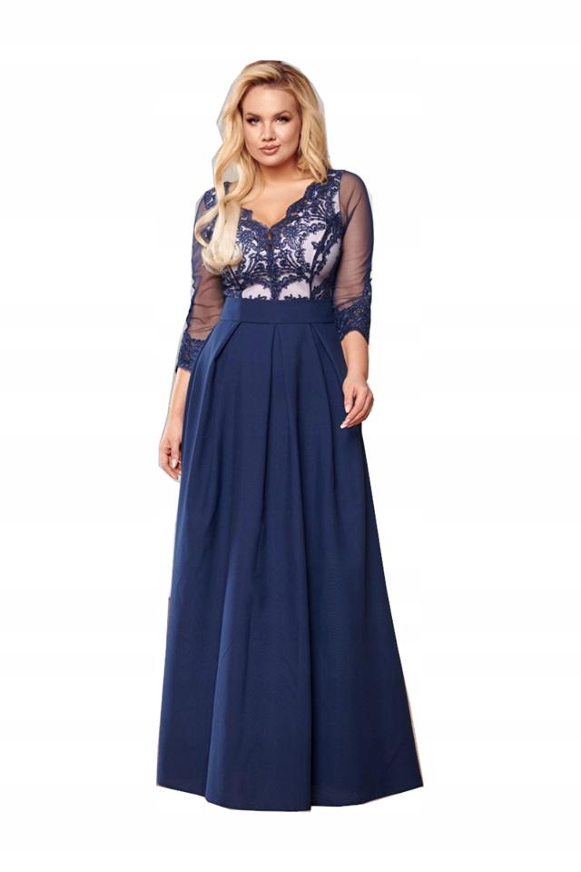 Granatowa sukienka maxi wesele z koronką Bicotone