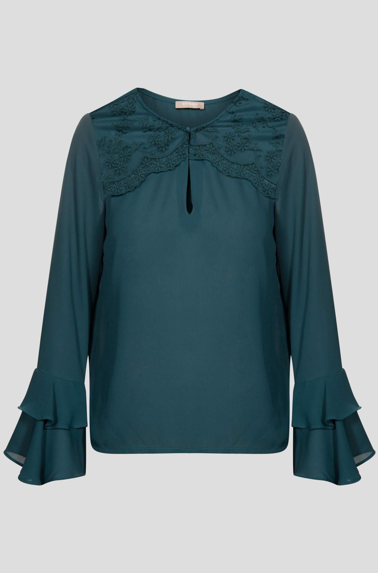 Orsay zielona bluzka z koronką M