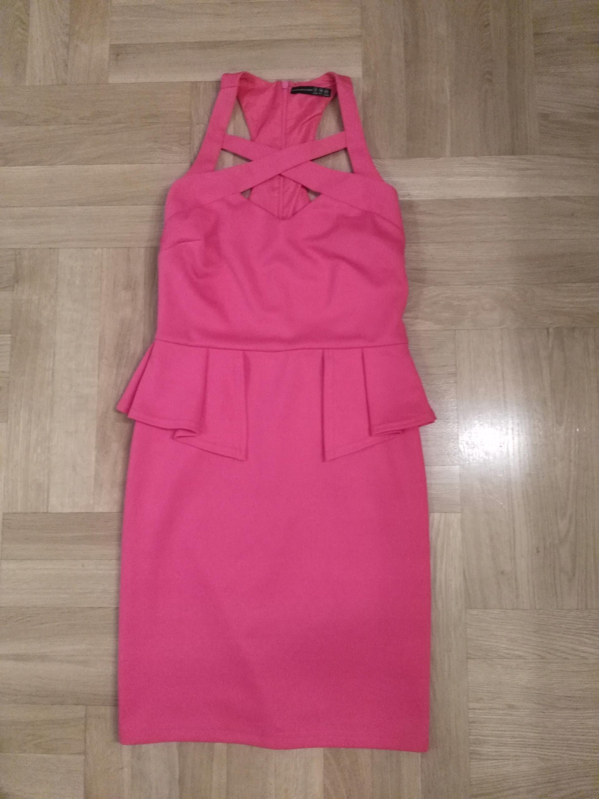 Neon Różowa Sukienka dopasowana 36 S